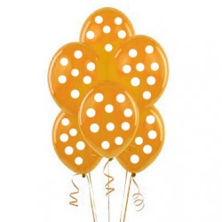 Parti Dünyası - Turuncu-Beyaz Puanlı 10 lu Latex Balon