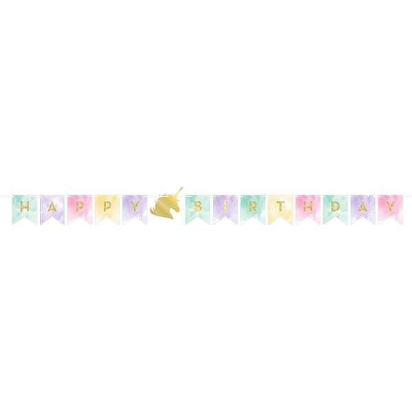 Unicorn Partisi Happy Birthday Bayrak Afiş
