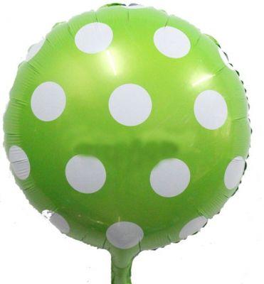 - Yeşil Beyaz Puanlı Folyo Balon