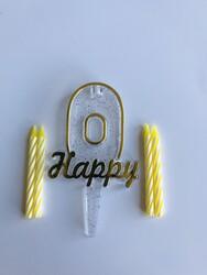 Parti Dünyası - 0 Yaş Altın Renk Happy Yazılı Mum