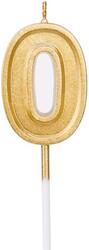 Parti Dünyası - 0 Yaş Altın Renk Mum 12 cm 1 Adet