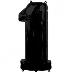Parti - 1 Rakamı Siyah Renk Folyo Balon 100 cm