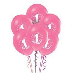 Parti Dünyası - 1 Yaş Kız 10 lu Latex Balon