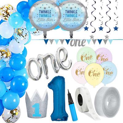 1 Yaş Mavi Zİncir Balon Yapım Seti ve Parti Seti