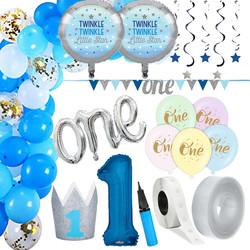 Parti Dünyası - 1 Yaş Mavi Zİncir Balon Yapım Seti ve Parti Seti