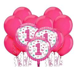 Parti Dünyası - 1 Yaş Pembe Balon Demeti 23 Adet