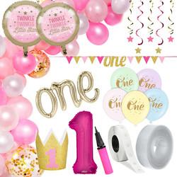 Parti Dünyası - 1 Yaş Pembe Zİncir Balon Yapım Seti ve Parti Seti