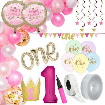 1 Yaş Pembe Zİncir Balon Yapım Seti ve Parti Seti
