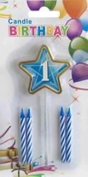 Parti - 1 Yaş Yıldızlı Mavi Mum