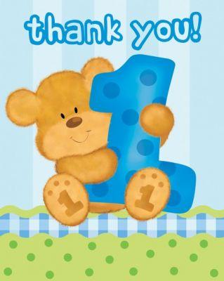 1 Yaşındayım Mavi Ayıcık Teşekkür Kartı