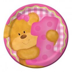 Parti Dünyası - 1 Yaşındayım Pembe Ayıcık Pasta Tabağı