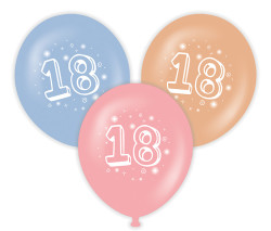 Parti - 18 Yaş Baskılı Latex Balon 10 Adet