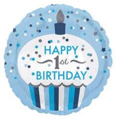 Parti Dünyası - 1 Yaş Cup Cake Mavi Folyo Balon