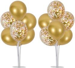 Parti Dünyası - 2 Adet Balon Standı ve 14 Adet Gold Balon