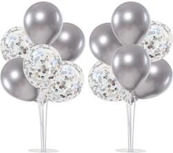 Parti Dünyası - 2 Adet Balon Standı ve 14 Adet Gümüş Balon