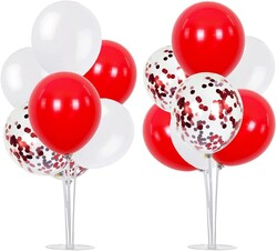 Parti Dünyası - 2 Adet Balon Standı ve 14 Adet Kırmızı Beyaz Balon