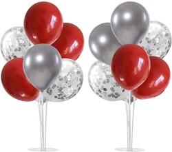 Parti Dünyası - 2 Adet Balon Standı ve 14 Adet Kırmızı Gümüş Balon