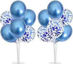 Parti Dünyası - 2 Adet Balon Standı ve 14 Adet Mavi Balon