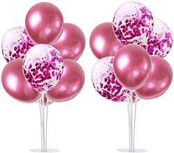 Parti Dünyası - 2 Adet Balon Standı ve 14 Adet Pembe Balon