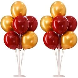 Parti Dünyası - 2 Adet Balon Standı ve 14 Adet Sarı Kırmızı Balon