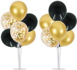 Parti Dünyası - 2 Adet Balon Standı ve 14 Adet Siyah-Gold Balon
