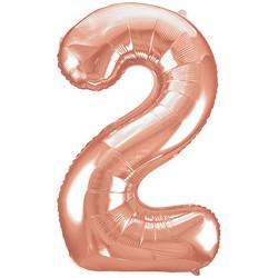 Parti - 2 Rakamı Rose Gold Folyo Balon 100 cm