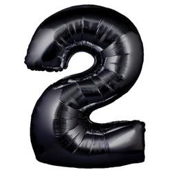 Parti - 2 Rakamı Siyah Renk Folyo Balon 100 cm