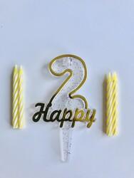 Parti Dünyası - 2 Yaş Altın Renk Happy Yazılı Mum