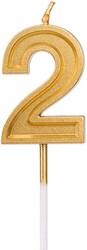 Parti Dünyası - 2 Yaş Altın Renk Mum 12 cm 1 Adet
