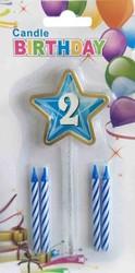 Parti Dünyası - 2 Yaş Yıldızlı Mavi Mum