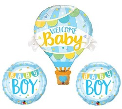 Parti - 3 lü Mavi Balonlu Hoş geldin Welcome Baby Folyo Balon