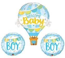 Parti Dünyası - 3 lü Mavi Balonlu Hoşgeldin Erkek Folyo Balon