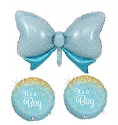 Parti Dünyası - 3 lü Mavi Fiyonklu Erkek Bebek Folyo Balon