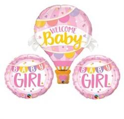 Parti Dünyası - 3 lü Pembe Balonlu Kız Hoş Geldin Bebek Balon