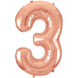 Parti - 3 Rakamı Rose Gold Folyo Balon 100 cm