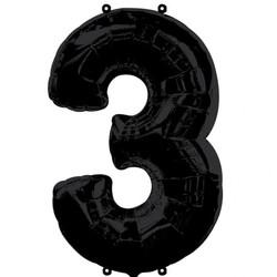 Parti - 3 Rakamı Siyah Renk Folyo Balon 100 cm