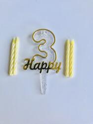 Parti Dünyası - 3 Yaş Altın Renk Happy Yazılı Mum