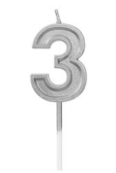 Parti Dünyası - 3 Yaş Gümüş Renk Mum 15 cm 1 Adet