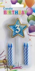 Parti Dünyası - 3 Yaş Yıldızlı Mavi Mum
