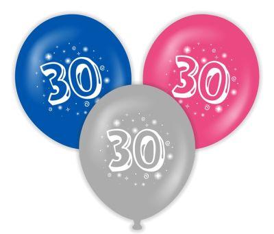 30 Yaş Baskılı Latex Balon 10 Adet