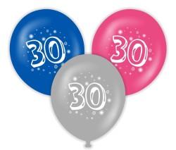 Parti Dünyası - 30 Yaş Baskılı Latex Balon 10 Adet