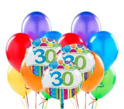 Parti Dünyası - 30 Yaş Rengarenk Balon Demeti 23 Adet