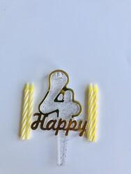 Parti Dünyası - 4 Yaş Altın Renk Happy Yazılı Mum