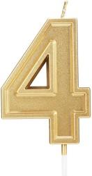 Parti Dünyası - 4 Yaş Altın Renk Mum 12 cm 1 Adet
