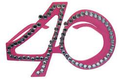Parti Dünyası - 40 Yaş Pembe Renk Parti Gözlüğü