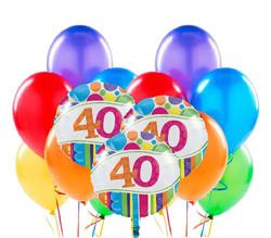 Parti Dünyası - 40 Yaş Rengarenk Balon Demeti 23 Adet