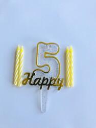 Parti Dünyası - 5 Yaş Altın Renk Happy Yazılı Mum