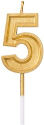 Parti Dünyası - 5 Yaş Altın Renk Mum 12 cm 1 Adet