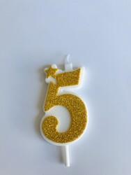 Parti Dünyası - 5 Yaş Altın Renk Simli Mum