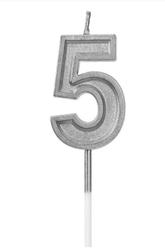 Parti Dünyası - 5 Yaş Gümüş Renk Mum 15 cm 1 Adet